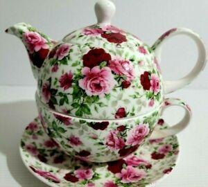 Maxwell Williams Tea For One Set Teapot Tea Cup Saucer Rambling Rose Bud Chintz