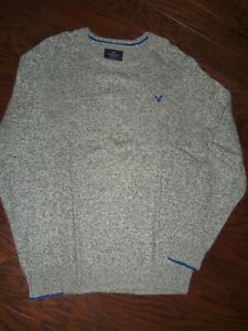 NWOT AMERICAN EAGLE OUTFITTERS GRAY HEATHER CLASSIC CREWNECK SWEATER: SIZE L