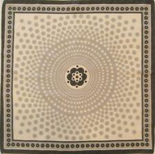 "Rayon Pocket Sq. Handbag Scarf Ecru & Gray Polka Dots w Floral Pattern 19.5"""