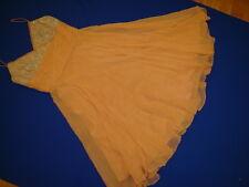 Badgley Mishka apricot silk chiffon cocktail dress straps sz 6 lined beaded top