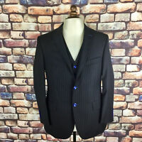 Men's Handmade Black Pinstripe Three Piece Suit 44R 40W 30L BNWOT