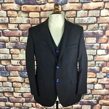 Men's Handmade Black Pinstripe Three Piece Suit 44R 40W 30L BNWOT