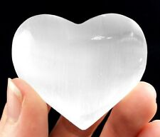 XL Selenite Crystal Heart Polished Palm Stone Worry Stone Reiki Healing Cleanse