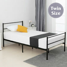 Twin Size Metal Bed Frame Platform Headboard Footboard Bedroom Furniture Black