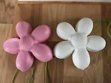 IKEA Smila Blomma Flower w/ green cords- TWO 1 Pink & 1 White Wall Lamps -  EUC!