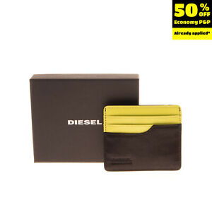 DIESEL Leather Wallet Card Holder Case Grainy Two Tone Panel Aged Metal Logo