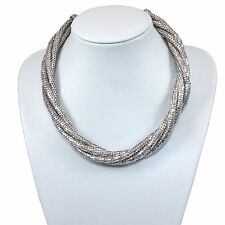 XMAS GIFT Ladies Chunky Silver BLING Fashion Necklace Chain Jewellery Jewelry UK