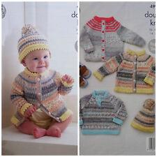 KNITTING PATTERN Baby Cardigan Jumper Coat and Bobble Hat Drifter DK 4997