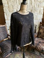 Long Sleeve Black Lace Blouse Ladies X Large