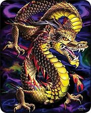"""Dragon Aurora Colorful Queen Size Blanket 79"""" x 96"""" fax fur thick NEW"""