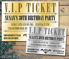 10 Vip Ticket De Oro Plata Fiesta invitar a Personalizado Invitaciones Fiesta De Cumpleaños
