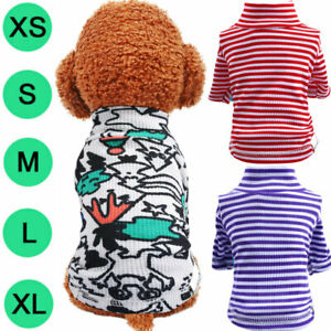 Spring Graffiti Stripe Pullove Polo Shirt Dog Shirt Vest Puppy Cat Coat Outfits