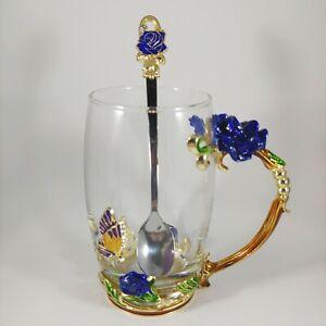 Blue Rose & Butterfly Glass Mug - Ornate Metal Enamel Rhinestone 12oz Coffee Cup