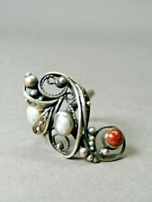 Vintage ring. Cloth,  pearls, aventurine. Size 7,1 / 2 Free