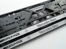 2X Mercedes Benz AMG EUROPEAN LICENSE NUMBER PLATE SURROUND FRAME HOLDER.