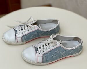 Louis Vuitton Denim Monogram White Leather Sneakers