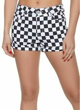 Almost Famous Women's High Rise Black & White Checkered Shorts Size 9