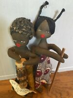 vintage 1970s Handmade 5 Inch African Dolls Boy & Girl Made In Zaire / The Congo