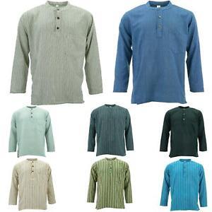 Cotton Grandad Collar Shirt Kurta Plain Men Collarless Long Sleeve Gheri