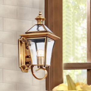 Retro Antique Brass Lantern Clear Glass LED Porch Wall Lights Sconces Gate Lamp