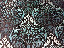 Fibre naturelle Safari Damasco marrón y verde azulado, Chenille Tela De Tapicería Por Metro