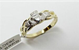 Irish Celtic Claddagh Ring Ladies Two Tone Gold Made in Ireland By Facet