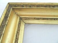 "BIG ANTIQUE FITS 16 X 20"" LEMON GOLD GILT PICTURE FRAME WOOD GESSO FINE ART WIDE"