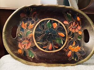 Hand Painted Folk Art Wood Tray * Colorful Flowers With Gold Accents*