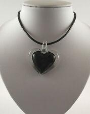 "Handmade Silver Foil Glass Green Heart Pendant & 18"" Black Leather Cord."