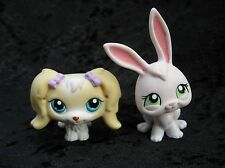 Littlest Pet Shop Lot of 2 Animals # 175 Maltese Dog & No# Pink Bunny Green Eyes