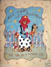 BUCKAROO BABY fabric panel QUILT TOP You can be a Cowboy too Cotton fabric NEW