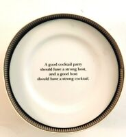 Set of 4 Pottery Barn Cocktail Quotes Salad/Dessert/Appetizer Plates with Box