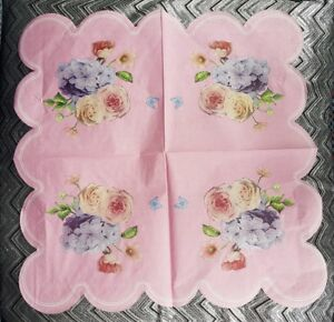 4 x FLORAL ROSE  PAPER NAPKINS PINK ROSE FLORAL for TABLE, DECOUPAGE & CRAFTING