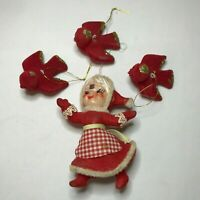Vintage Red Flocked Plastic Ornaments 50s Kitsch Weird Mrs. Clause & Birds As Is