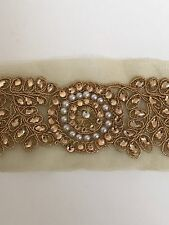 ATTRACTIVE ETHNIC INDIAN GOLD CIRCLES FLORAL CRYSTALS ON NET LACE/TRIM -1 MTR