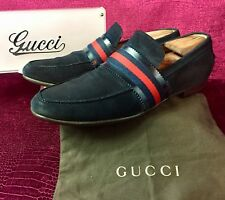 Mens Blue Suede Gucci Loafers Sz 11.5 G / 12.5 US Made In ITALY