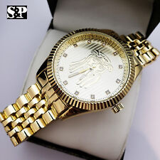 Mens Iced out Gold Plated Lab Diamond Dress Hip Hop Jesus Face Analog Watch