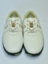 Footjoy Junior Golf Shoes White Tan Leather Lace Ups Argyle Pattern Girl's Sz 4M