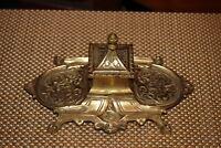 Vintage Japan Brass Metal Inkwell Detailed Scrolls Ink Well