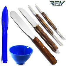 Set Of 6 Dental Waxing Modelling Knife Tools Plaster Spatula Plastic Mixing Bowl