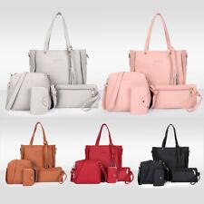 Womens Ladies 4Pcs Leather Shopper Clutch Boho Shoulder Bag Handbag Purse Tote
