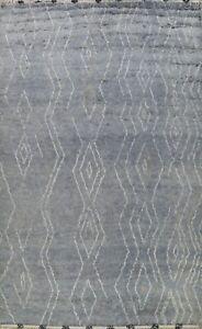 Vegetable Dye Gray Modern Moroccan Berber Oriental Area Rug Wool Handmade 9x12