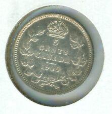 CANADA 1905 5 CENT SILVER--XF/AU