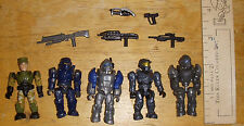 HALO Mega Bloks Mixed Lot Of 5 mini figures with accessories Gray Blue Spartans