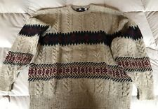 Pendleton cable knit sweater, browns muted Santa Fe colors,100% wool, Large,Nice