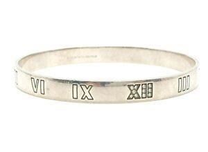 NO RESERVE Tiffany & Co. Diamond Atlas Silver Bangle Bracelet Vintage Italy