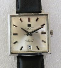 Amazing vintage stainless steel automatic Tissot Seastar mens square dress watch