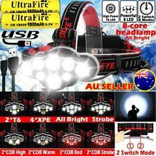 650000LM T6 LED Headlamp Headlight Torch Rechargeable Flashlight Work Light Camp