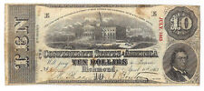 1863 Confederate States of America $10 Note T59 Pf26 Cr443
