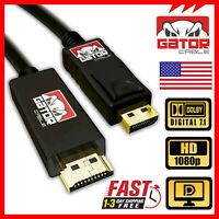 DisplayPort to HDMI Cable Cord Adapter Audio Video PC HD 1080P 60Hz 18Gbps 6FT